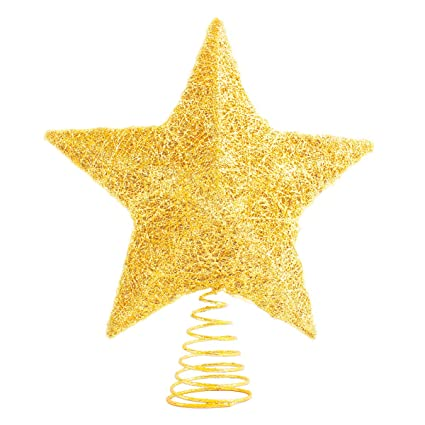 Lawoho Christmas Tree Topper Star Ornaments Glittering Gold Festival Gift Display Lighted Clear Decor 10 Inches