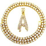 HH Bling Empire Iced Out Hip Hop Gold Faux Diamond Bubble Letter Tennis Chain Necklace 20 Inch