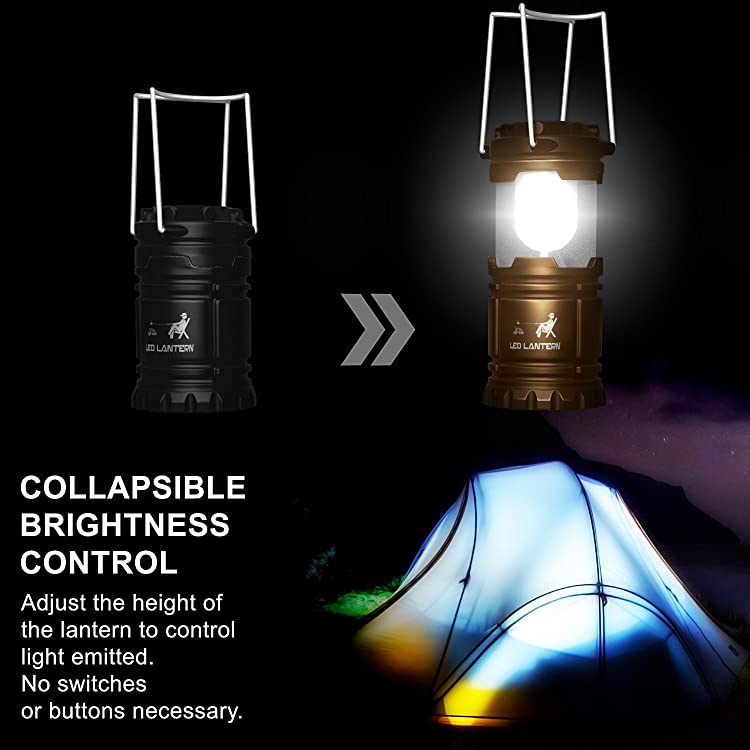 MalloMe LED Camping Lantern Flashlights 4 Pack - Portable Outdoor Emergency Lamp Lights