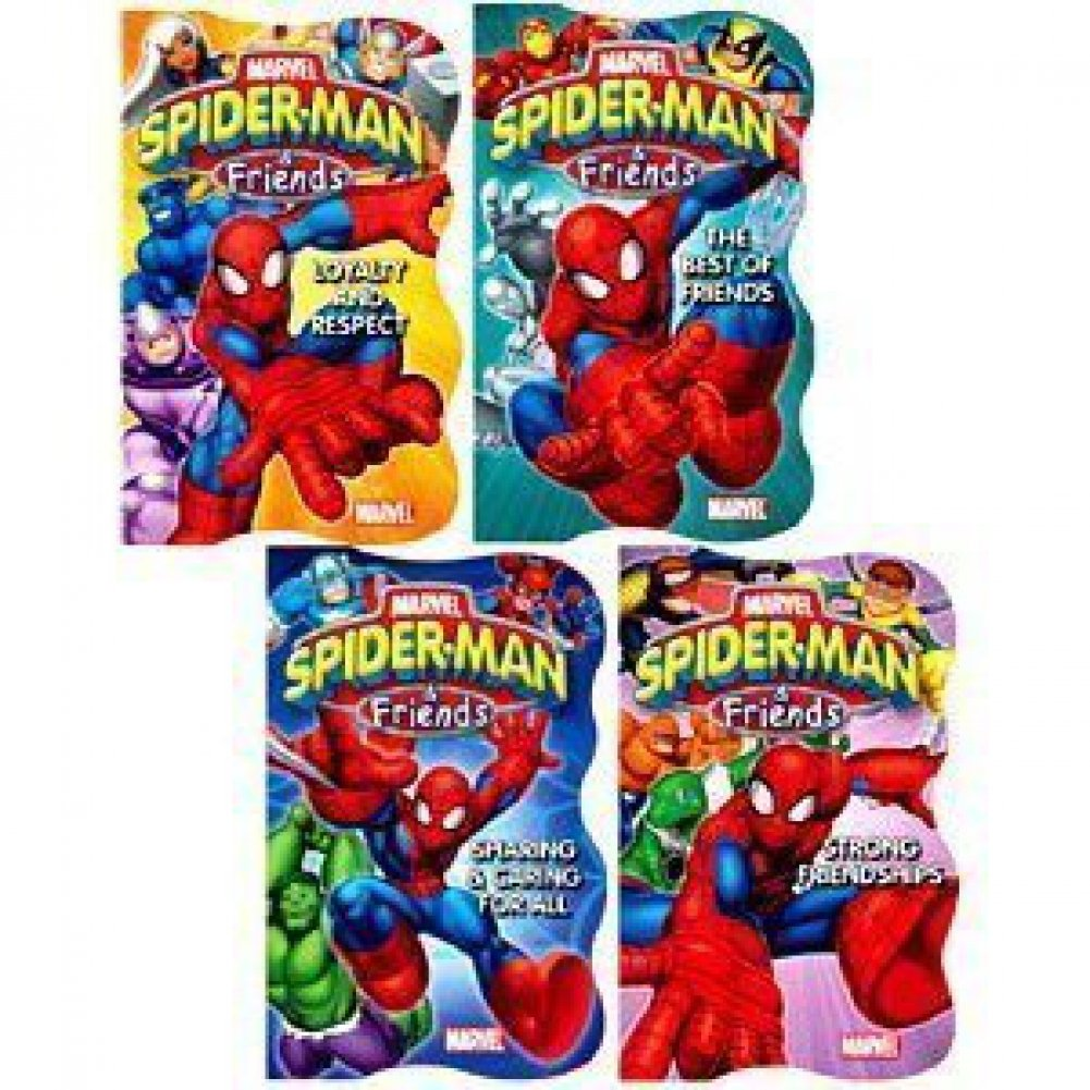 Spider-man  Friends Shaped Board Books - Set of 4 (Strong Friendships, Sharing  Caring, Loyalty  Respect, The Best of Friends) by Marvel