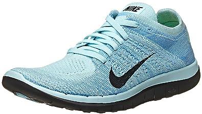 Nike Free 4.0 Flyknit, Damen Laufschuhe, Blau (Glacier Ice/Black ...