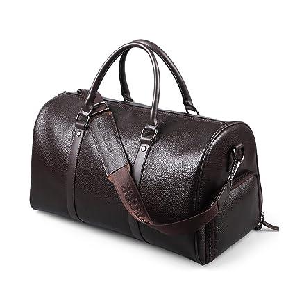 52efdace3b FEGER Men s Genuine Leather Travel Duffel Handbag Overnight Weekend Luggage  with Shoe Bag (Dark Brown