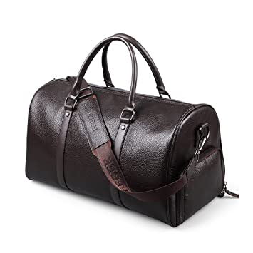 2f14be344f54 FEGER Leather Holdall Travel Bag Weekender Bag Overnight Travel Carry On  Duffel Tote Bag(Brown