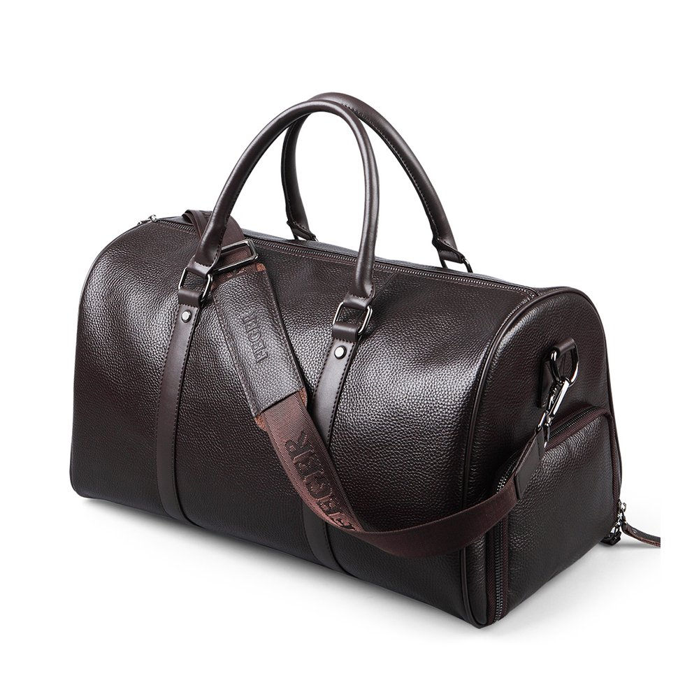TopWigy Travel Duffel Genuine Leather Handbag Weekender Bag Shoulder Bag with Shoes Pouch (Brown)