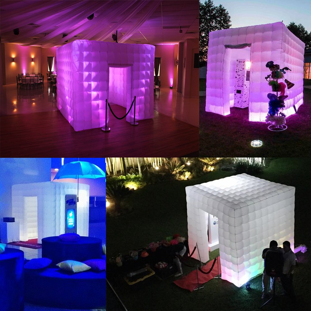Inflatable Portable Photo Booth Enclosure - Inflatable Photobooth with Led Lights 4 Bulbs and Inner Air Blower Photo Booth Cube for Party, Wedding, Birthday, Halloween Decoration (Two Door White) by AIRMAT FACTORY (Image #8)