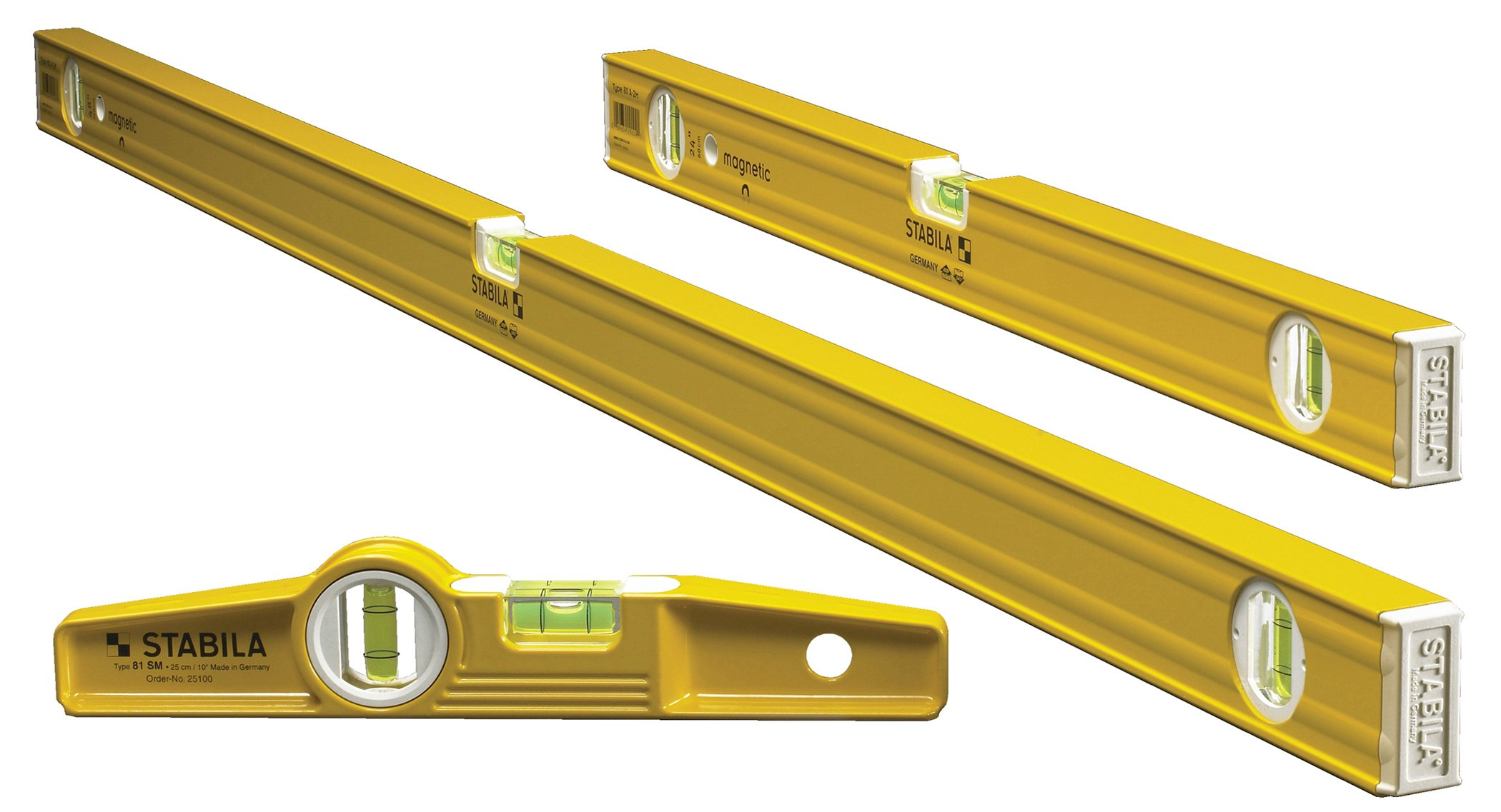 Stabila 29924 - 3 Level Magnetic Pro-Set includes 48'', 24'' and Die-Cast Torpedo