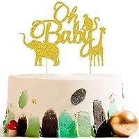 Vodolo Glittery Wild Animal Cake Topper, Jungle Theme Party Supplies Elephant/Monkey/Giraffe Cake Pick for Baby Shower Wedding Happy Birthday Parties Decorations