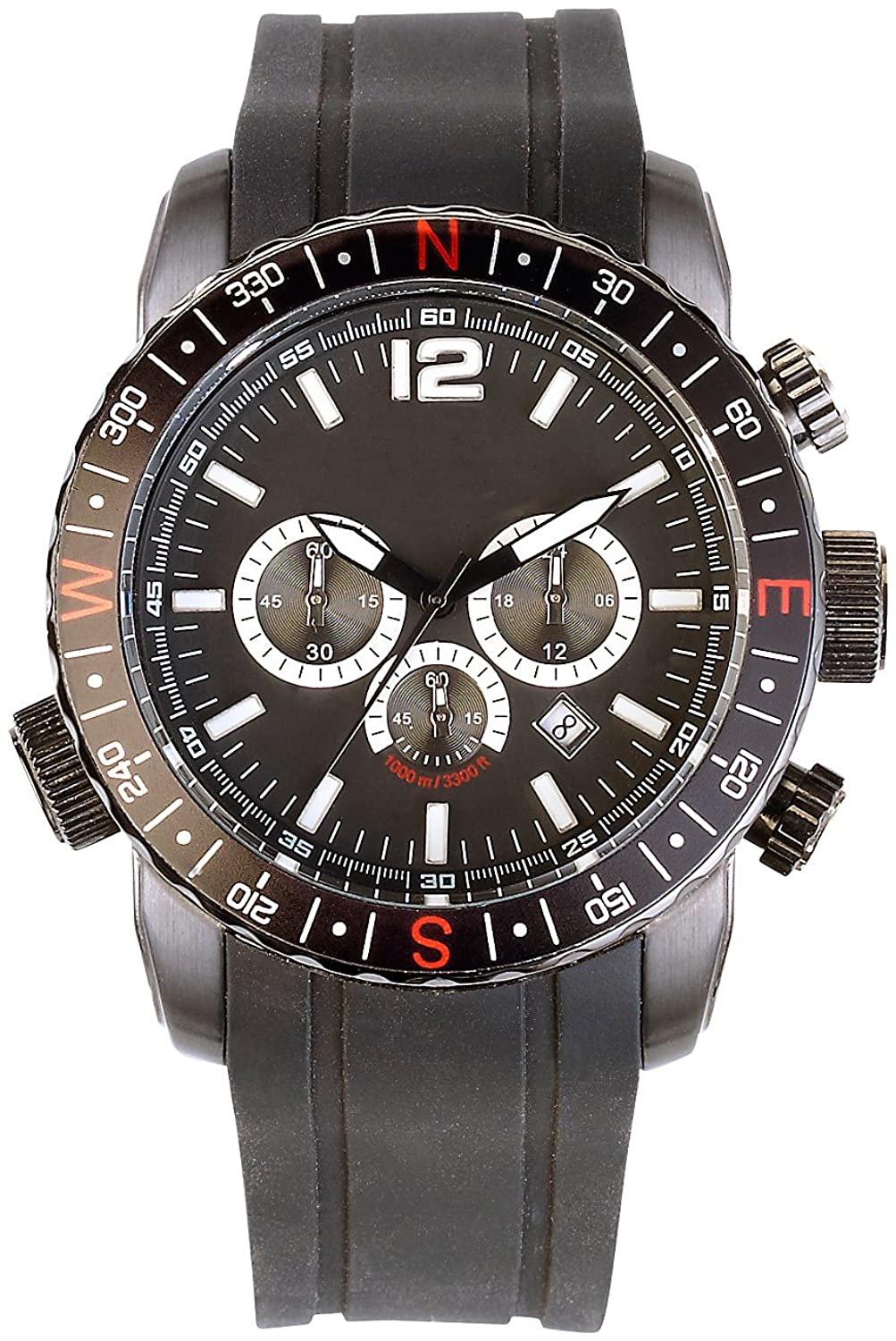 Semptec Urban Survival Technology Taucheruhr mit Chronograph bis 100 atm wasserdicht - schwarz