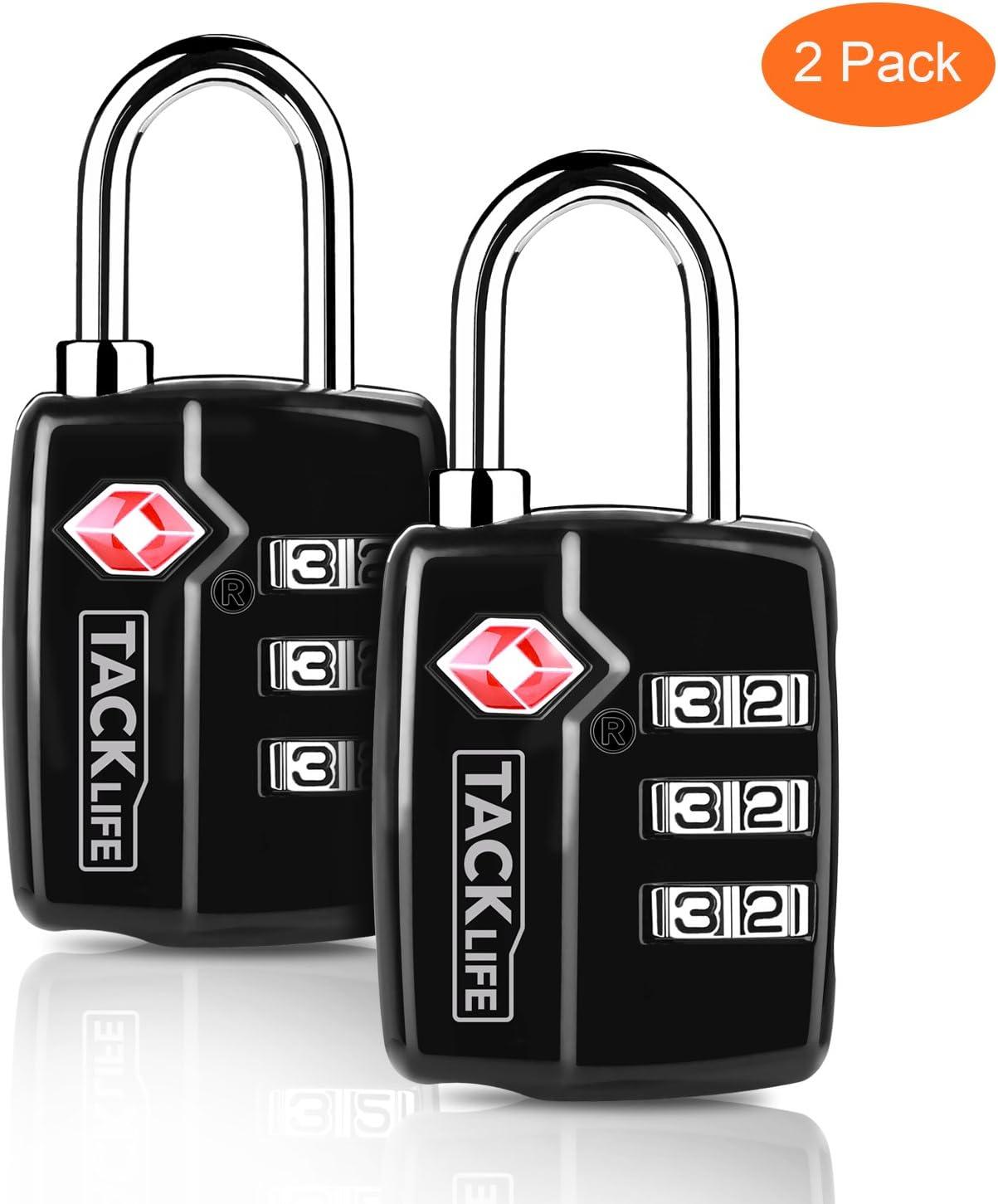 Candados para equipaje, 2-Piezas-Tacklife HCL3A TSA Approved Candado combinaci¨®n, Cerradura de combinaci¨®n con 3 d¨ªgitos para los bolsos, maletas en el Viaje Giminacio y Escuela