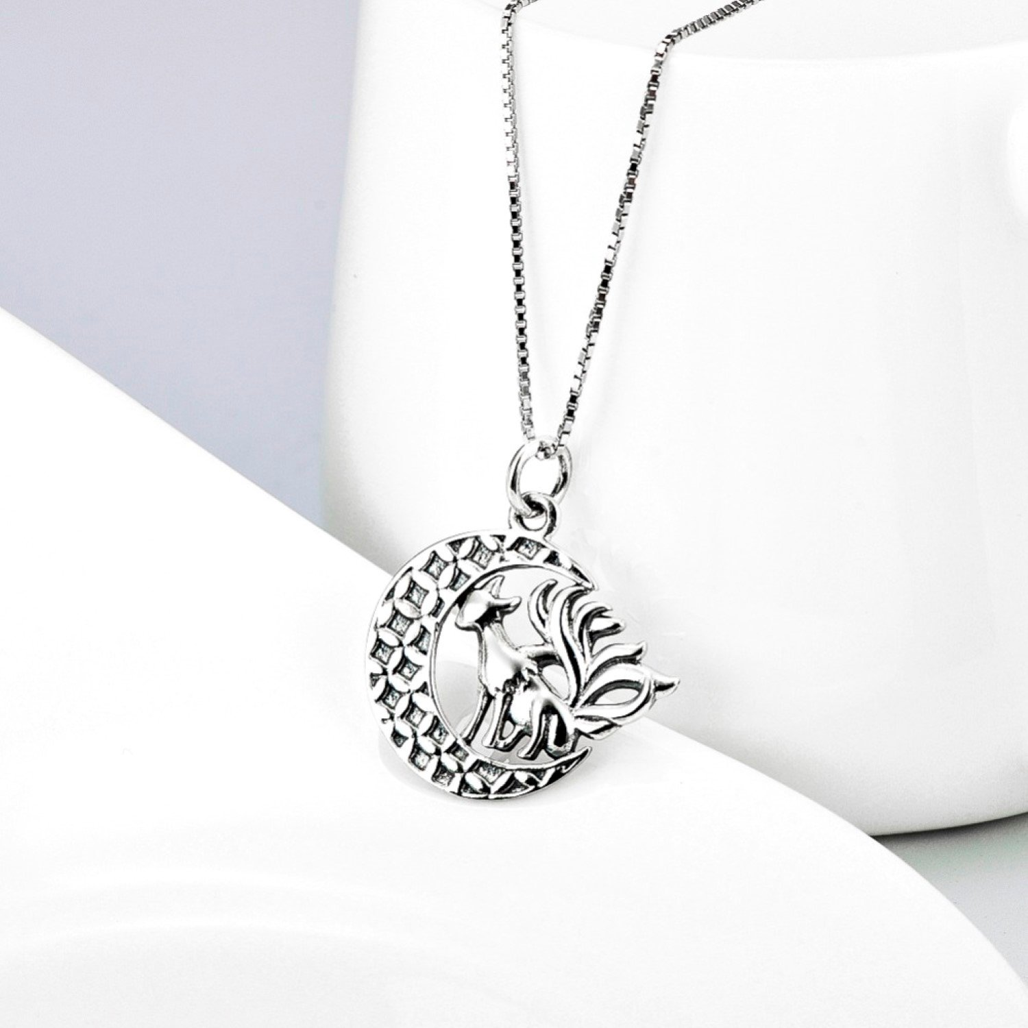 CS-DB Crescent Moon with Animal Nine Tailed Fox Pendants Silver Necklaces