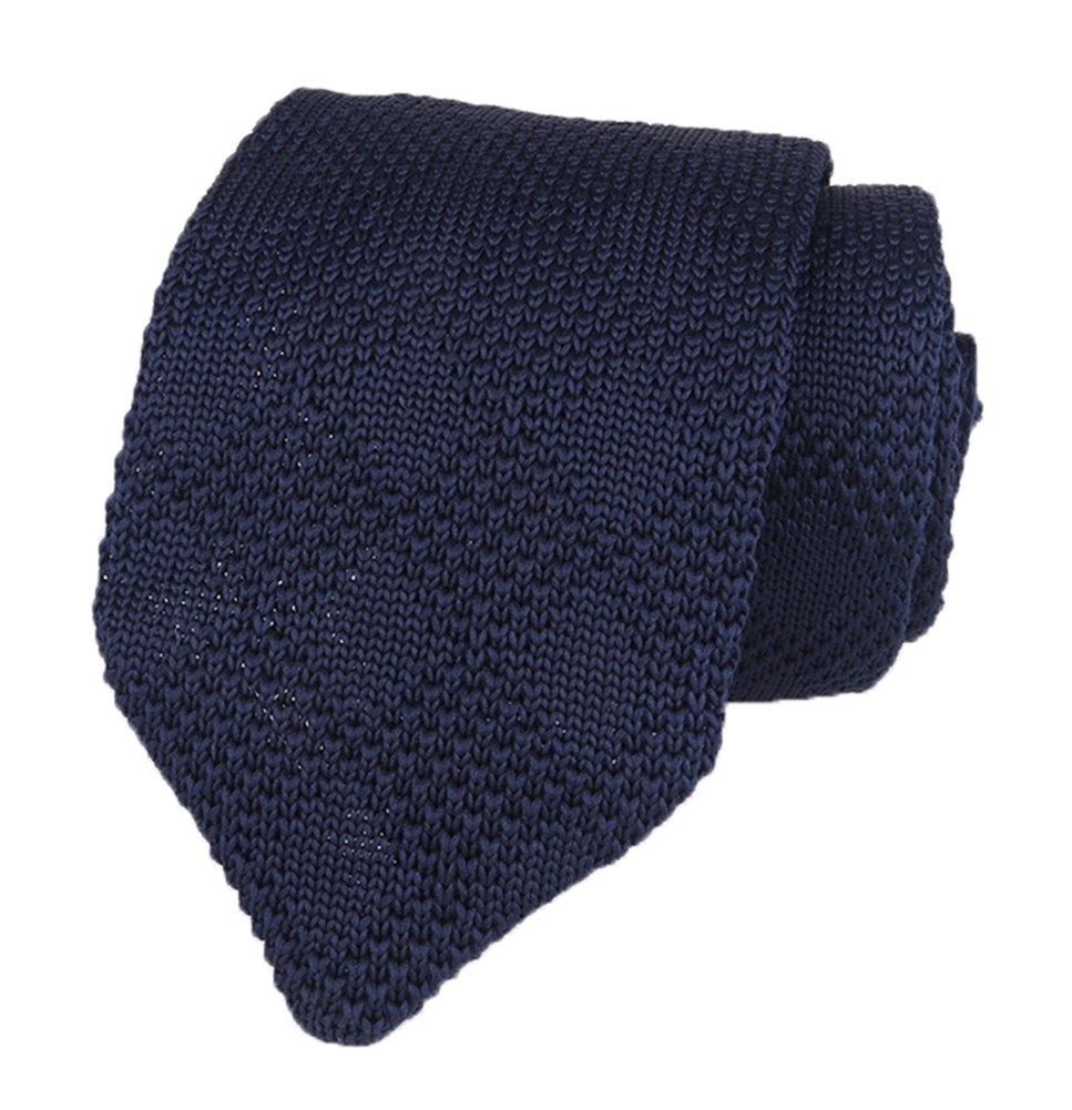 Men Boy Classic Navy Blue Solid Color Tie Designer Cotton Check Necktie Neckwear