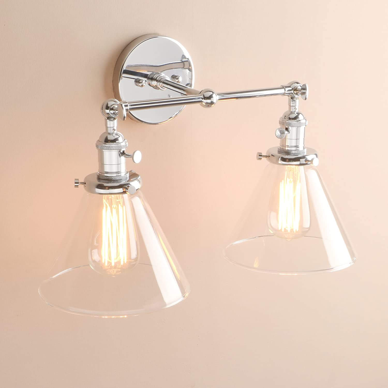 Pathson Stylish Vintage Industrial Edison Double Wall Lights Loft Bar Bedroom Wall Sconce Lamp Light Fixtures