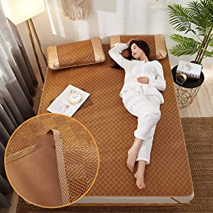Summer Rattan Cooling Sleeping Mat,Double Sided Folding Carbonized Ice Silk Mattress Air Conditioning Pad - For Bedroom Double Bed Student,A-90195cm(35x76inch)
