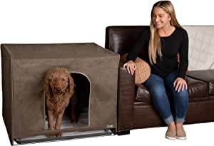 Pet Gear Pro Pawty, Potty Training Aid for Dogs, Discreetly Covers Pee Pads and Grass Patches, Removable Tray Included, Optional Wall Guard Accessory for Extra Protection from Messes, Large, Espresso