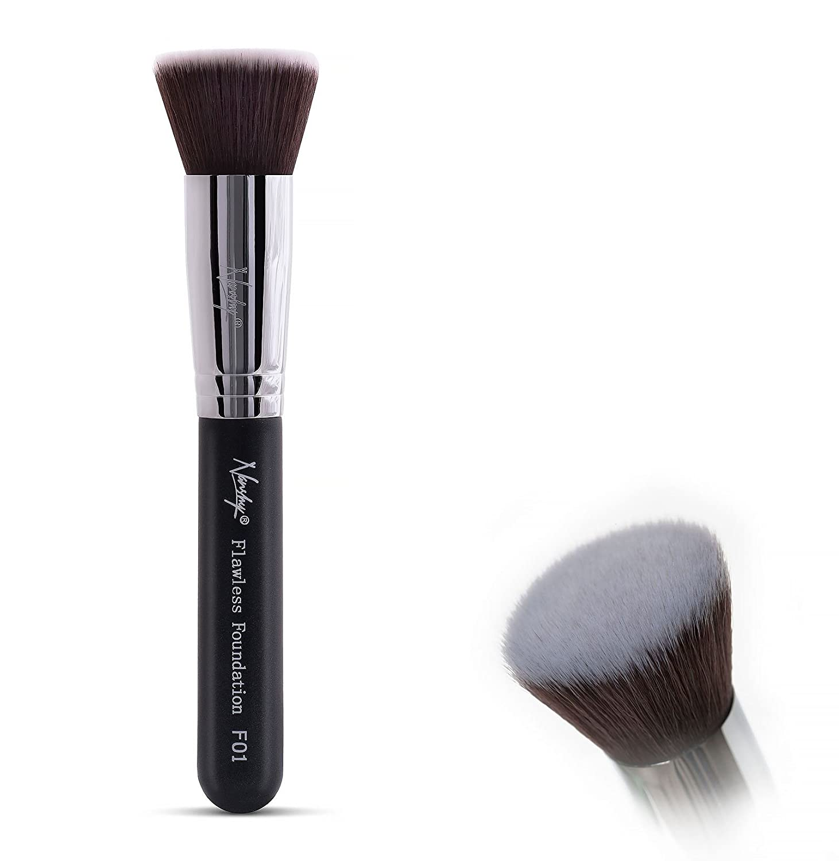 Nanshy Flat Fop Foundation Kabuki Makeup Brush - Flawless HD Application Blending of Liquid or Cream - Onyx Black