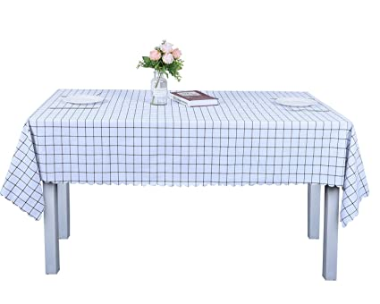 Amazoncom OUWIN Waterproof Rectangle Tablecloths SpillProof - White vinyl picnic table