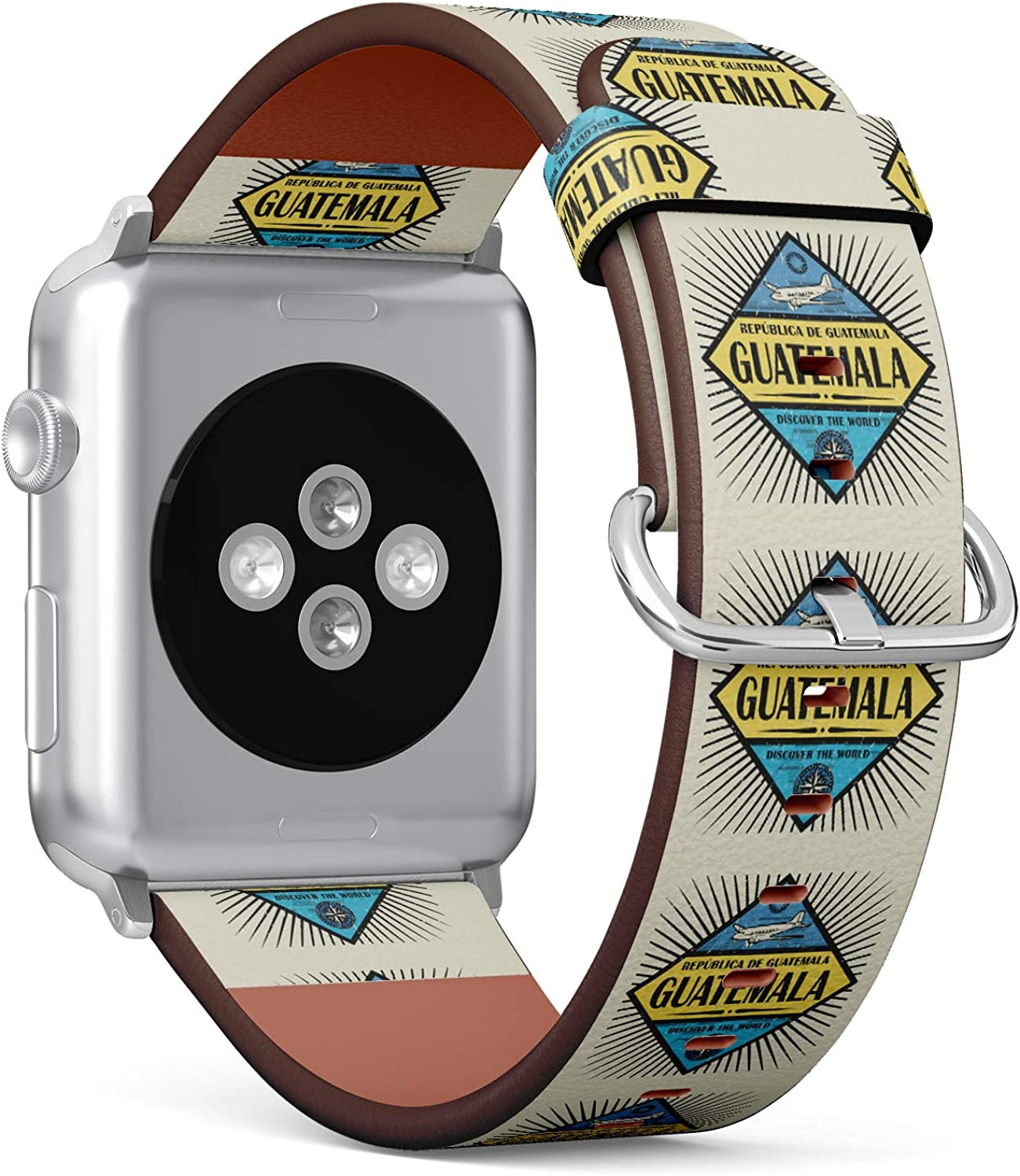 (Stamp or Vintage Emblem with Airplane, Compass and Text Guatemala) Patterned Leather Wristband Strap for Apple Watch Series 4/3/2/1 gen,Replacement for iWatch 42mm / 44mm Bands