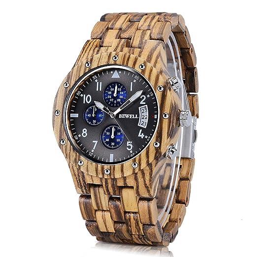 78548b217f59 Reloj de madera hombre digital BEWELL W109D Diseño muy superior para  presentar su nobleza Tres cronómetros