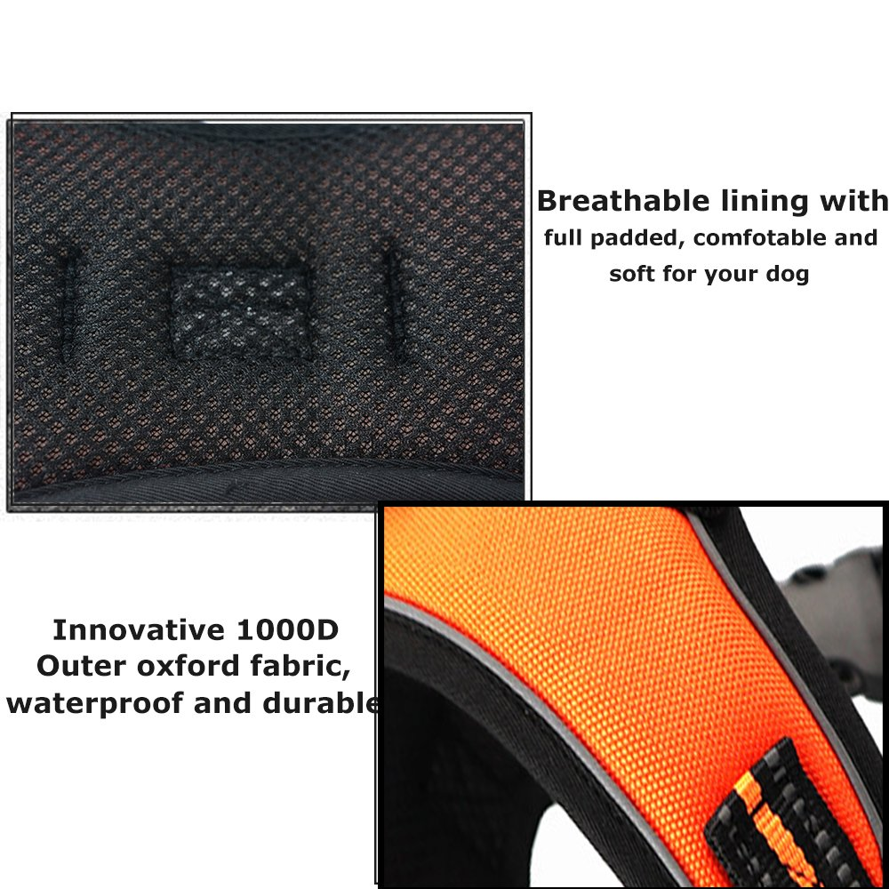 Santune Dog Harness Vest No Pull Adjustable Heavy Duty Oxford 3M Reflective Safety Pet Harnesses with Handle for Small Medium Large Dogs Walking Traveling Training (Orange, L)