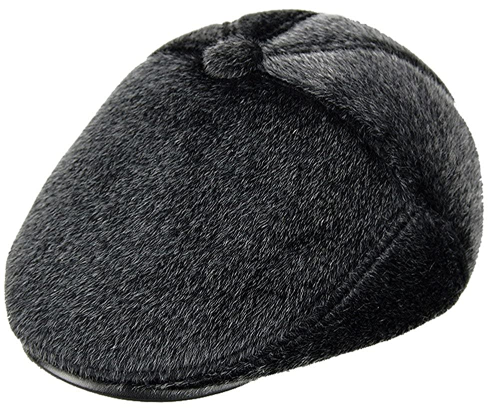 3f672eefee746 Roffatide Faux Mink Fur Ear Flap Newsboy Cap Flat Beret Cabbie Irish Ivy Hat  Winter  Amazon.ca  Clothing   Accessories