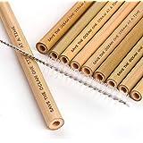 Searth Reusable Bamboo Drinking Straws - 100% Organic & BPA Free - Set of 10