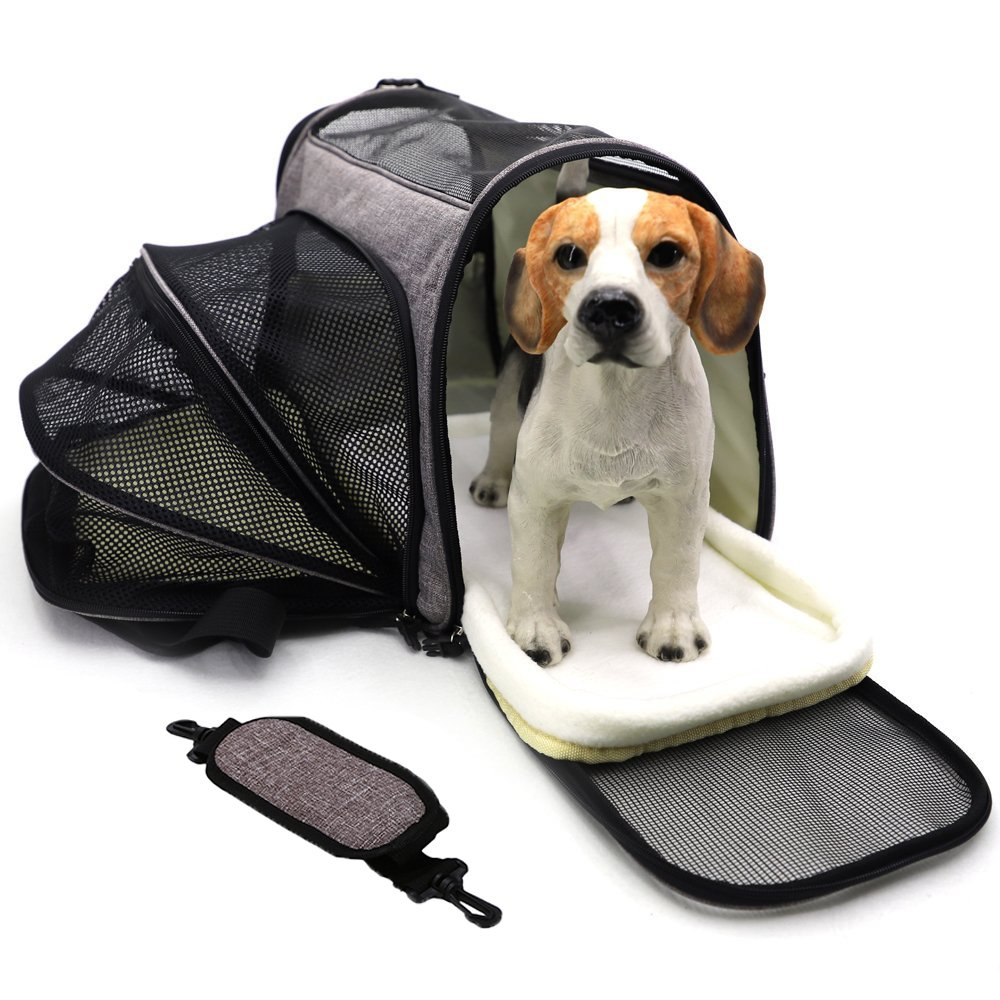 Pet Travel Carrier Airline Approved Premium Under Seat Dogs Cats - Soft Sided Pet Carrier Tote Bag Backpack Fleece Bed & Safety Lock(Grey)
