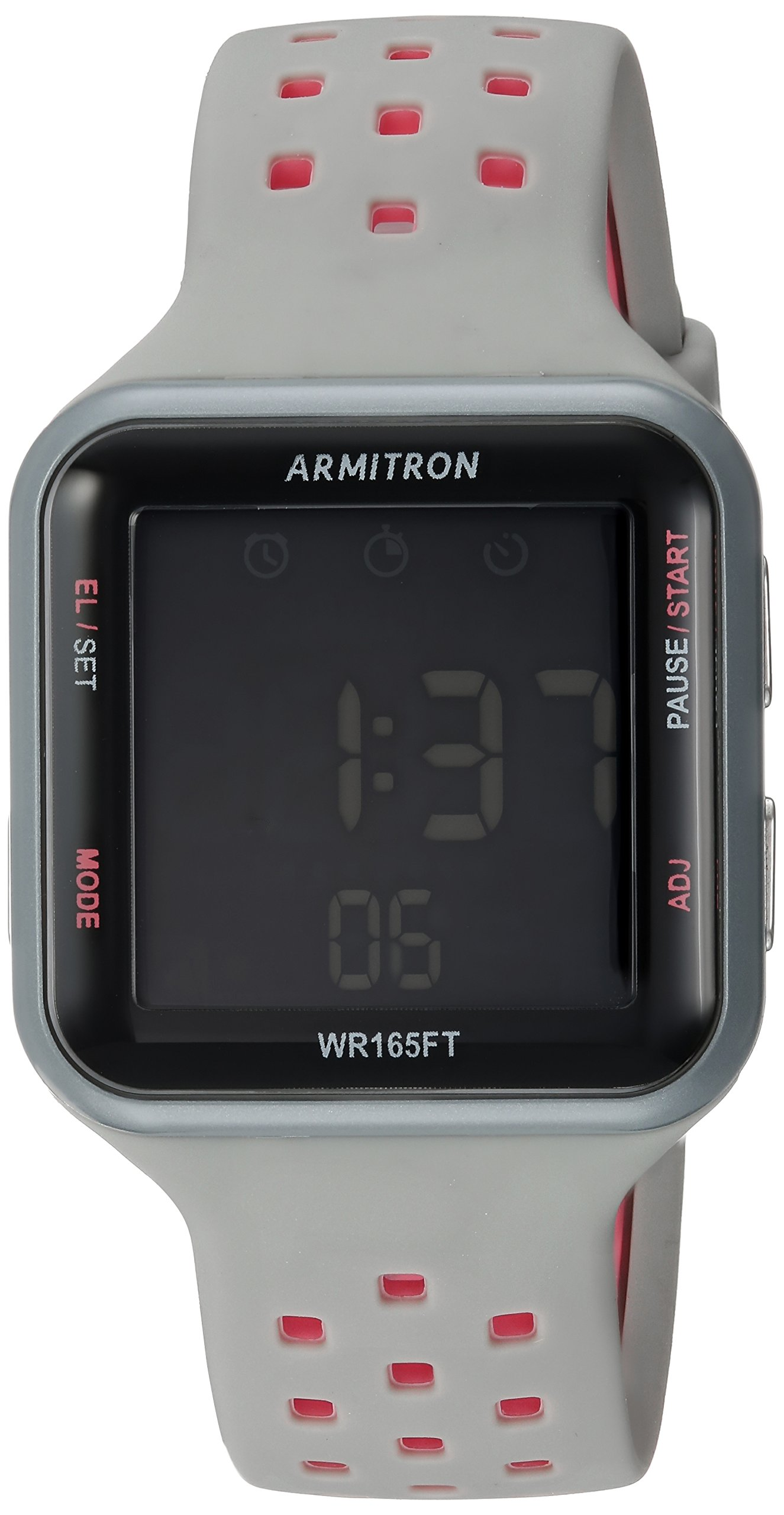 Armitron Sport Unisex 40/8417PGY Pink Accented Digital Chronograph Grey Perforated Silicone Strap Watch by Armitron Sport
