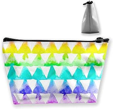 Bolsa de Maquillaje Estuche de Viaje Geométrico de Colores del Arco Iris Patrón de triángulos Impreso Organizador de Almacenamiento para Mujeres niñas multifunción: Amazon.es: Equipaje