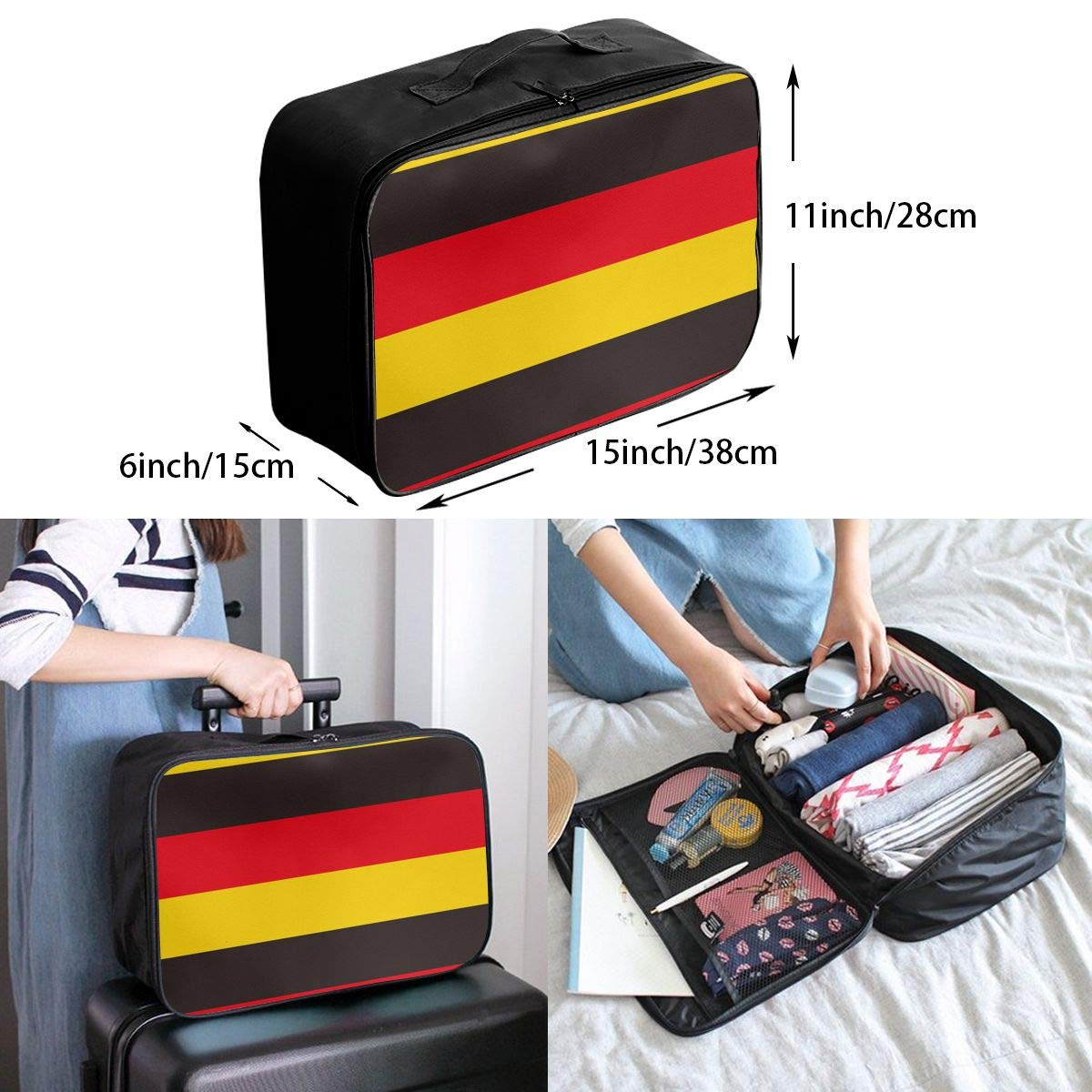 Casual Large Capacity Portable Luggage Bag Suitcase Storage Bag Luggage Packing Tote Bag Germany Flag Repeat Travel Duffel Bag Weekend Trip
