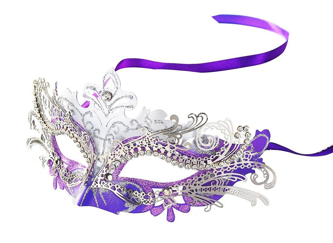Metall Laser Cut Metall Venezianischen Karnevalsmaske Maskerade Maske mit Kristallen Straßsteinen Coxeer