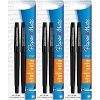 Paper Mate Flair Porous Felt Tip Pens, Medium Point, Black Ink (6 Count)
