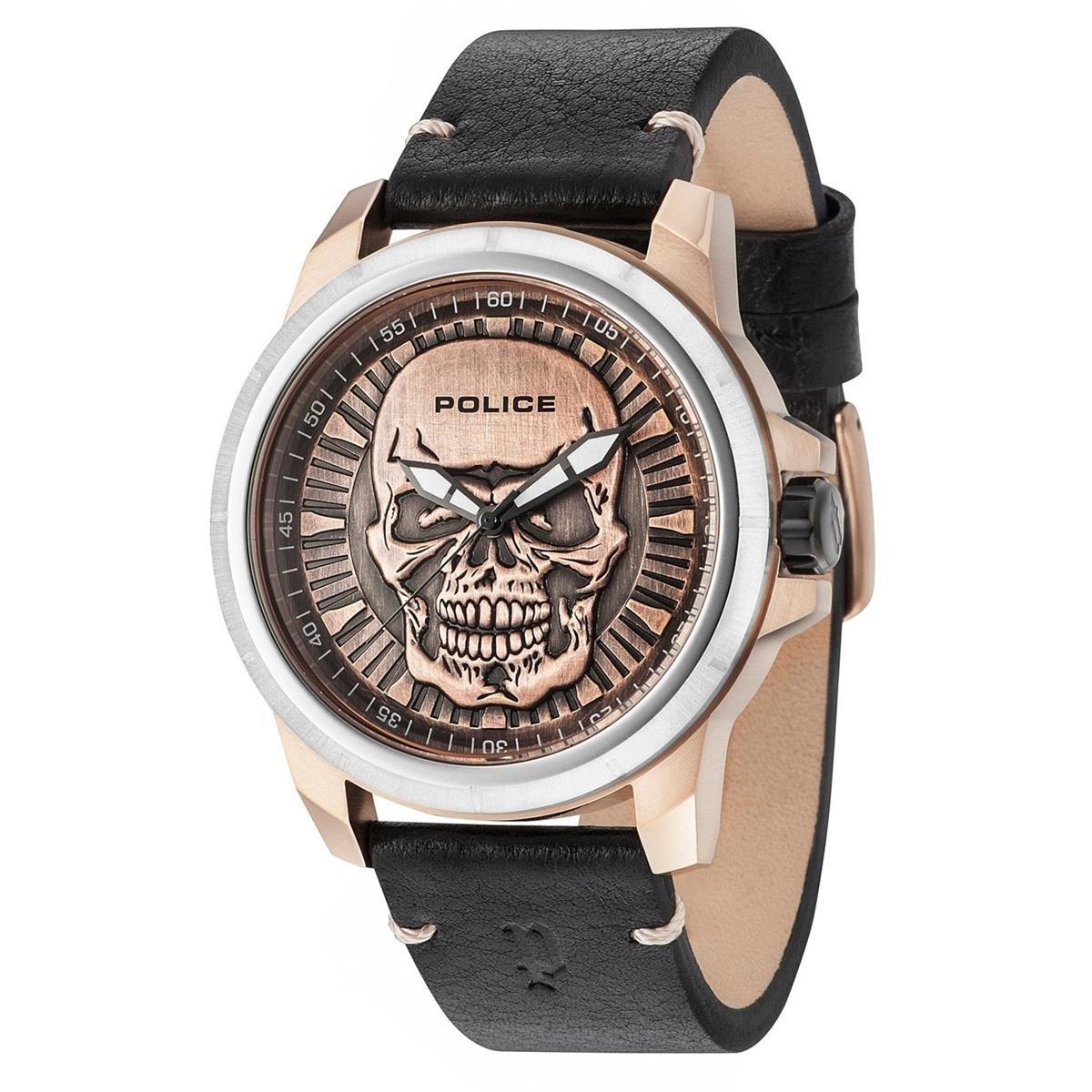 Police Reloj Análogo clásico para Hombre de Cuarzo con Correa en Cuero 14385JSTR/62: Amazon.es: Relojes