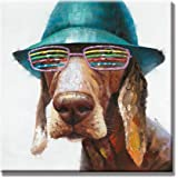 SEVEN WALL ARTS - 100% Hand Painted Oil Painting Animal Cute Dog Wears Colorful Glasses with Stretched Frame 24 x 24 Inch