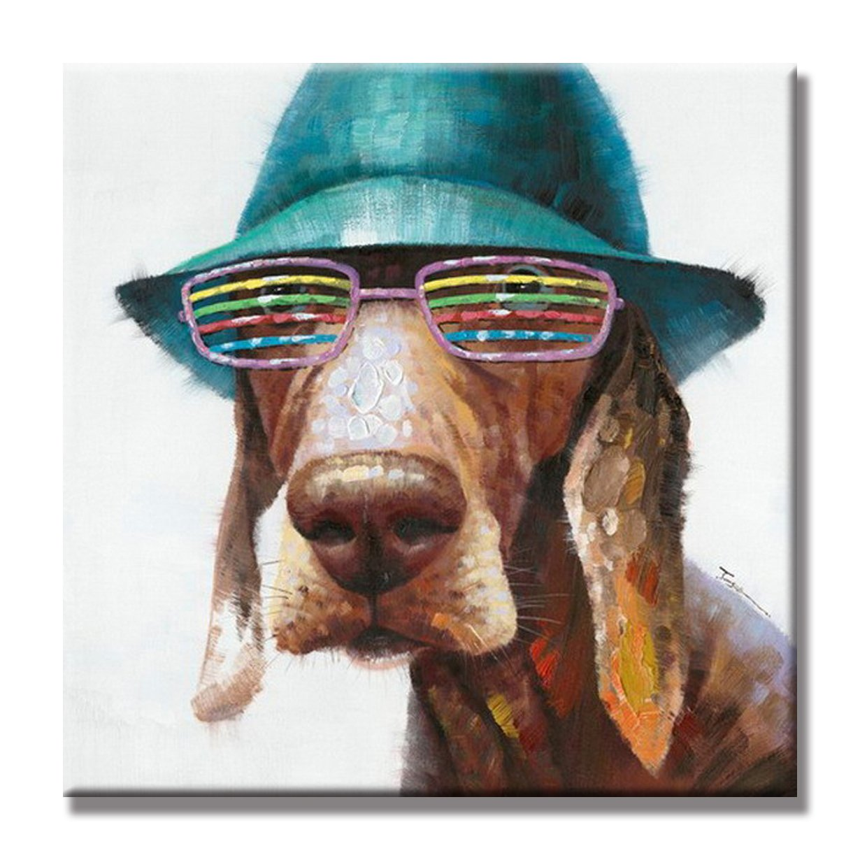 SEVEN WALL ARTS - 100% Hand Painted Oil Painting Animal Cute Dog Wears Colorful Glasses with Stretched Frame 32 x 32 Inch