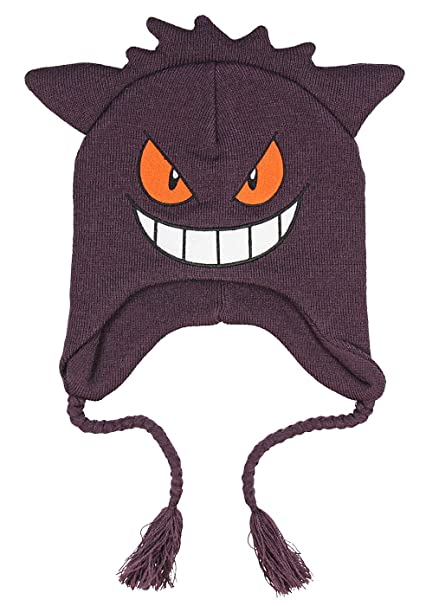 c7ea30d60a1 Amazon.com  Pokemon Gengar Face 3D Plush Laplander Beanie One Size Purple   Clothing