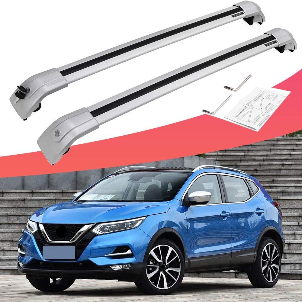 king of car tuning Silver Crossbars Cross Bars Roof Rail Racks Fits for Nissan Kicks 2018-2019