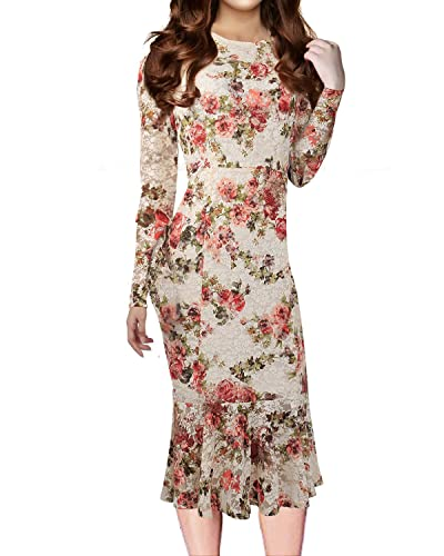 KIMILILY Women's Elegant Long Sleeves Floral Lace Bodycon Fishtail Midi Dress