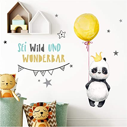 Little Deco Wandtattoo Wandaufkleber Wandsticker Panda Wanddeko Kinder DL201