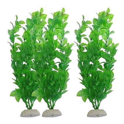 POPETPOP 3 Piezas Planta Artificial Decoración para Acuario Pecera, Plantas Plásticas de Acuario Falsas,