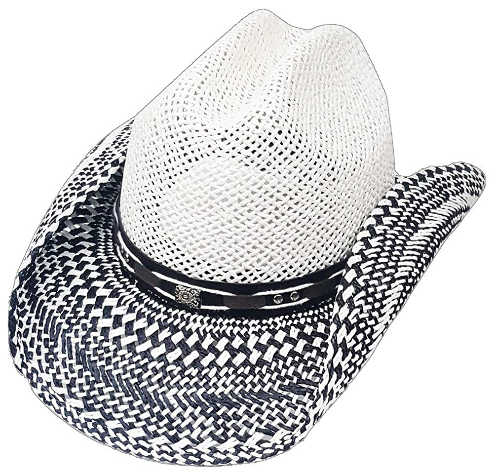 9a8ec3c3a928e6 Modestone Straw Cowboy Hat Breezer Metal Concho Studs Hatband White: Amazon.co.uk:  Clothing
