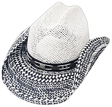 Image Unavailable. Image not available for. Color  Modestone Straw Cowboy  Hat Breezer Metal Concho Studs Hatband White b6becaa48f2