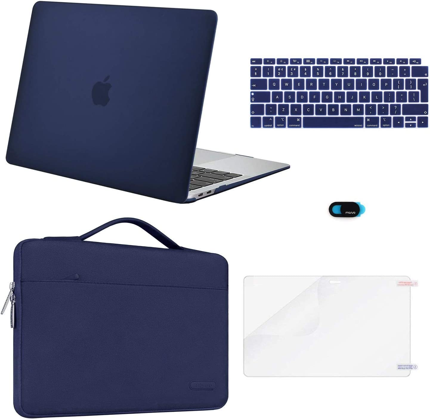Plastik H/ülle /& Aktentasche /& Tastaturschutz /& Displayschutz /& Webcam Cover Kompatibel mit Mac Air 13 MOSISO H/ülle Kompatibel mit MacBook Air 13 2019 2018 Freisetzung A1932 mit Retina Space Grau