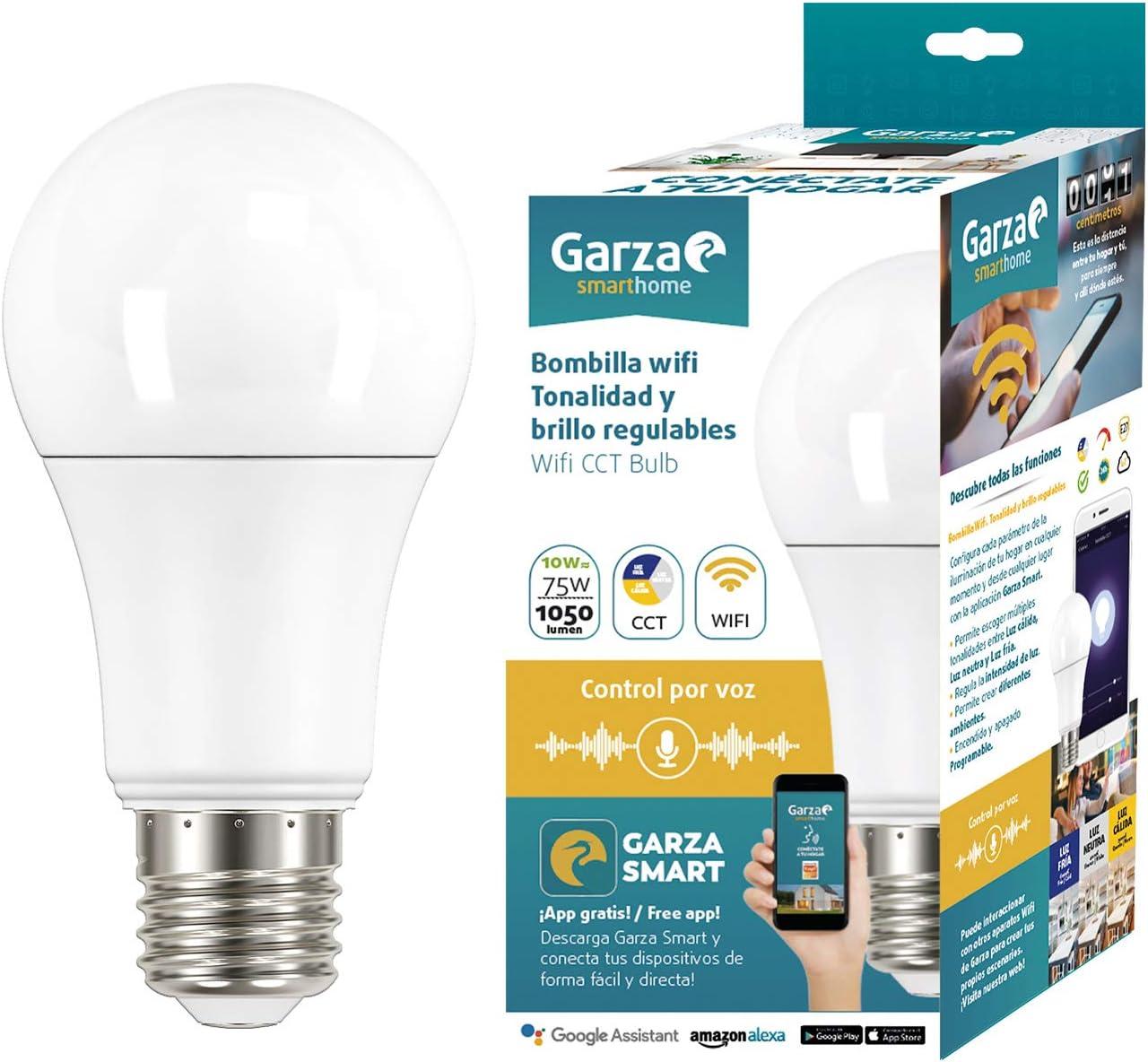 Garza Bombilla LED WiFi CCT Alexa, 10 W, Blanco, 70 x 135 mm: Amazon.es: Iluminación