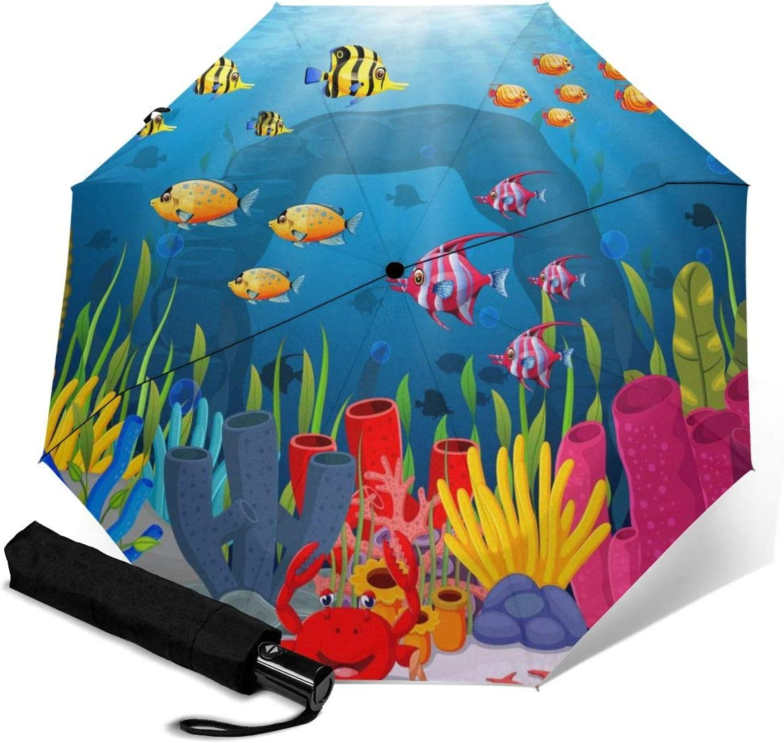Cute Fish Cartoon In The Sea Automatic Open Folding Compact Travel Umbrellas For Women