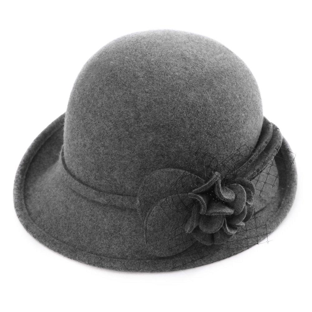 SIGGI 100/% Wolle Glockenhut warme 1920s Vintage Cloche Bucket Hut Damen Grau