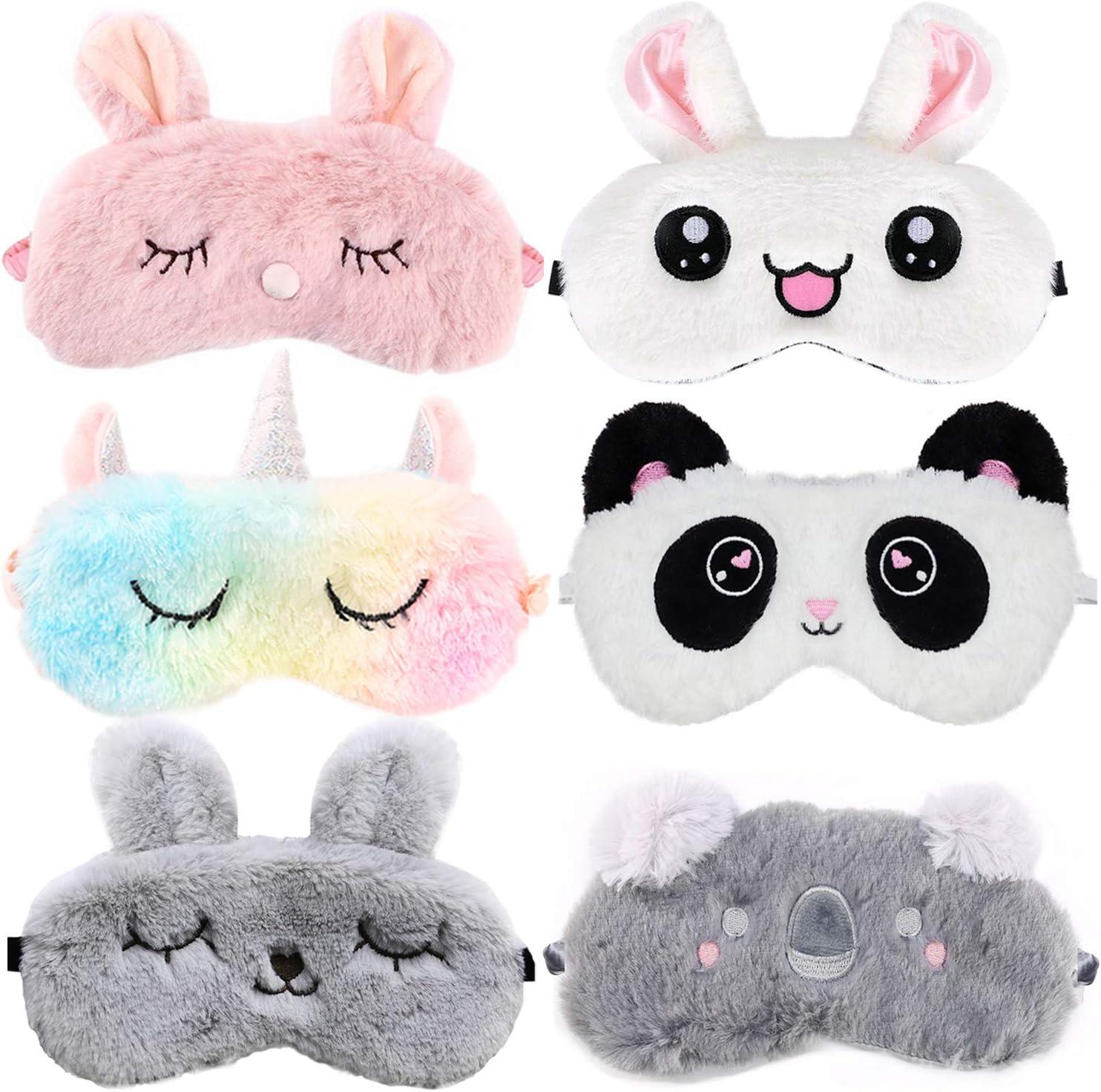 Antifaz para Dormir, ZOYLINK 6 Piezas Mascara para Dormir Antifaz Unicornio Antifaces Máscara para Niños,Niñas, Mujeres Mascara de Ojos Divertido Animal 3D Sueño Antifaz Viajes Resto