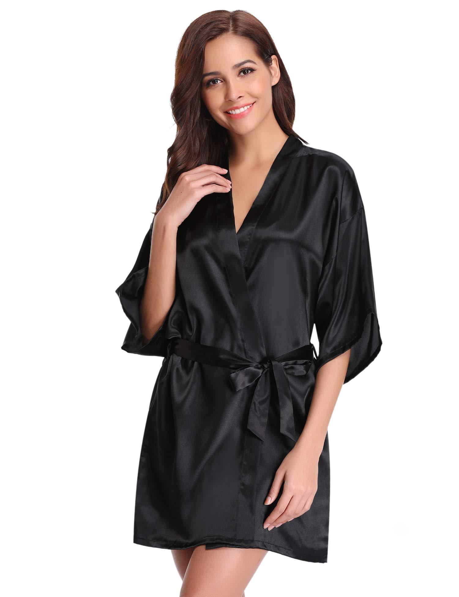 Aibrou Kimono Mujer Batas Cortos Lenceria de Aspecto Brillante product image