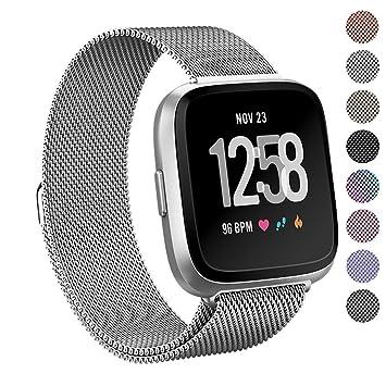 Correa para smartwatch Fitbit Versa en acero inoxidable de Pugo Top, lazo milanés