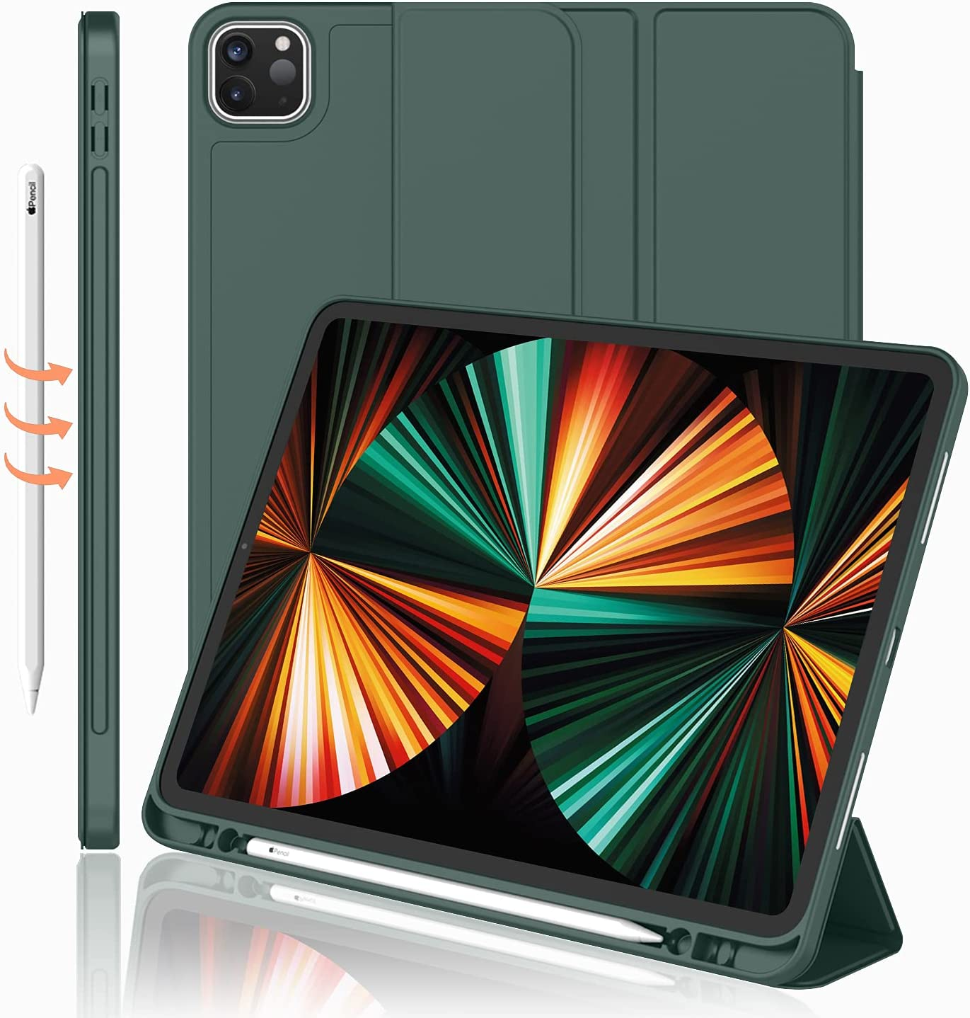 iMieet New iPad Pro 12.9 Case 2021(5th Gen) with Pencil Holder [Support iPad 2nd Pencil Charging/Pair],Trifold Stand Smart Case with Soft TPU Back,Auto Wake/Sleep(Midnight Green)