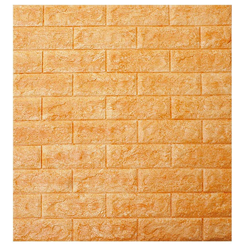壁紙シール レンガ 立体 タイル 補修 ブリック [ab-008:オレンジ] 71cm×78cm アクセントクロス ウォールステッカー おしゃれ DIY 壁紙 シール リフォーム 壁用 B01M63PX3O 1枚単位|オレンジ オレンジ 1枚単位
